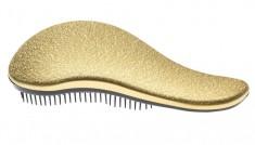 DEWAL BEAUTY Щетка массажная для легкого расчесывания волос, большая, с ручкой, цвет золотисто-черный