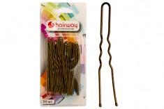 HAIRWAY Шпильки Hairway 65мм коричневые волнистые 50шт/уп