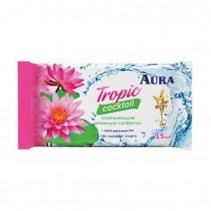 AURA Влажные освежающие салфетки Tropic Cocktail 15шт