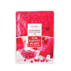 Маска тканевая на основе гиалуроновой кислоты с экстрактом граната и лепестков роз, 20 г (Deoproce)