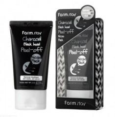Маска-пленка с углем для носа FarmStay Charcoal Black Head Peel-off Nose Pack 60г