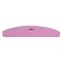 ruNail, Пилка для искусственных ногтей, розовая, полукруглая, 100/180