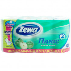 Zewa Бумага туалетная Плюс двухслойная с ароматом яблока 8шт