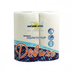 Мягкий знак Бумажное полотенце Deluxe белое с рисунком 100% целлюлоза 2-х слойная 2 рулона МЯГКИЙ ЗНАК