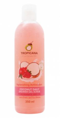 Гель-скраб для душа КОКОС/ МАСЛО ГРАНАТОВЫХ КОСТОЧЕК TROPICANA Coconut Daily Shower Gel Scrub Pomegranate seed oil 350мл